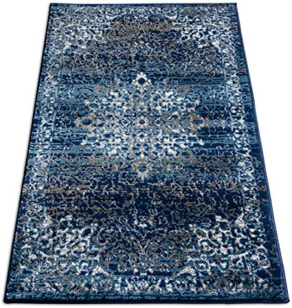 Well Woven Coverly Blue Beige Vintage Medallion Traditional Persian Oriental 2×4 2 3 x 3 11 Area Rug Neutral Modern Shabby Chic Thick Soft Plush Shed Free