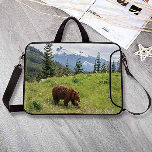 "Bear Anti-Seismic Neoprene Laptop Bag,Wildlife up in The Mountains Theme Furry Animal Carnivore Yellowstone Nature Habitat Laptop Bag for Travel Office School,13.8""L x 10.2""W x 0.8""H"
