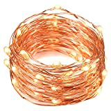 #8: String Lights, Oak Leaf 2 Set of Micro 30 LEDs Super Bright Warm White Led Rope Lights Battery Operated on 9.8 Ft Long Ultra Thin String Copper For Home Bedroom Party