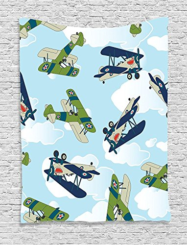 Airplane Collection Vintage Allied Plane Flying Pattern Cartoon Children Kids Repeating Toys Shark Teeth Image Blue Supersoft Throw Fleece Blanket 49.21x78.74 Inches