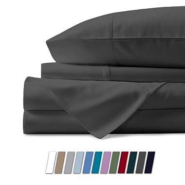Mayfair Linen 600 Thread Count 100% Cotton Sheets - Dark Grey Long-Staple Cotton Queen Sheets, Fits Mattress Upto 18'' Deep Pocket, Sateen Weave, Soft Cotton Bed Sheets and Pillowcases