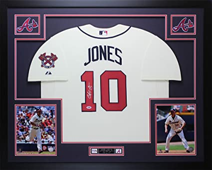 Chipper Jones Autographed Cream Braves Jersey - Beautifully Matted ...
