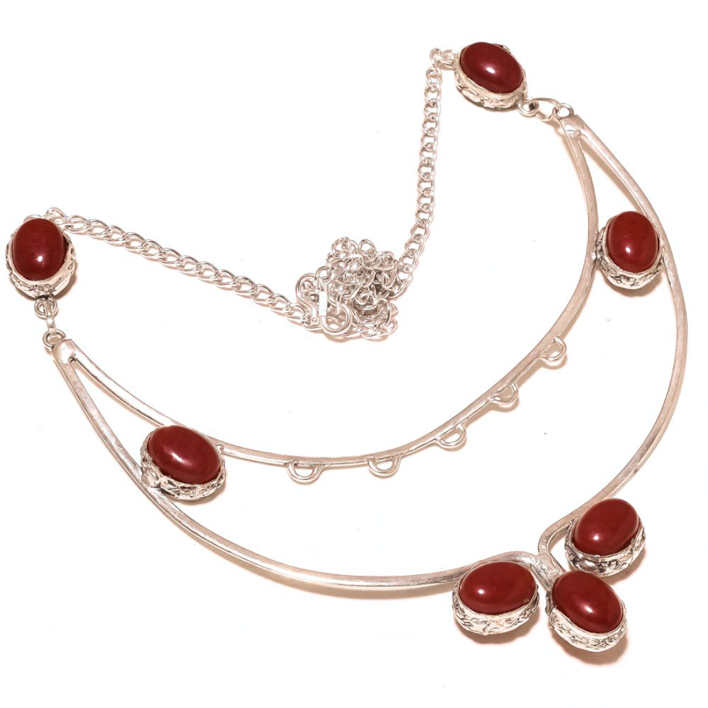 Latest Design Red Dyed Ruby Sterling Silver Overlay Necklace 17-18 Handmade Jewelry