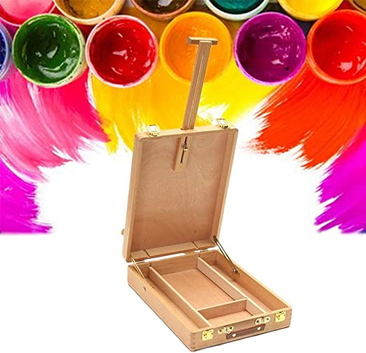 Caballete Caja Grande de la Pintura al óleo Caja de Herramientas Estudiante Bosquejo de la Maleta de Madera de Haya Material de Bellas Artes Artes y Manualidades HUYP (Color : Wood Color):