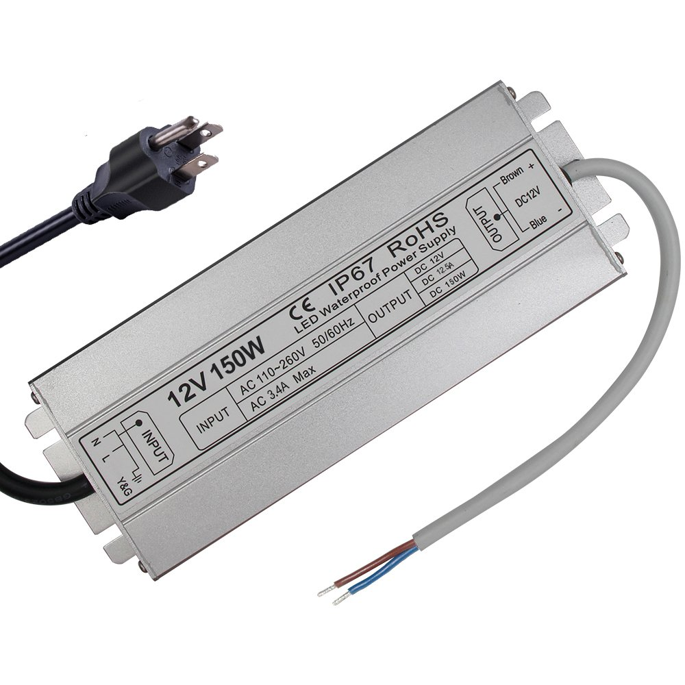 LED Driver Waterproof IP67 Power Supply 150W 12V DC 12.5a Transformer thinner and Durable with US 3-Prong Plug Plate for Outdoor Use by HFJY (Image #6)