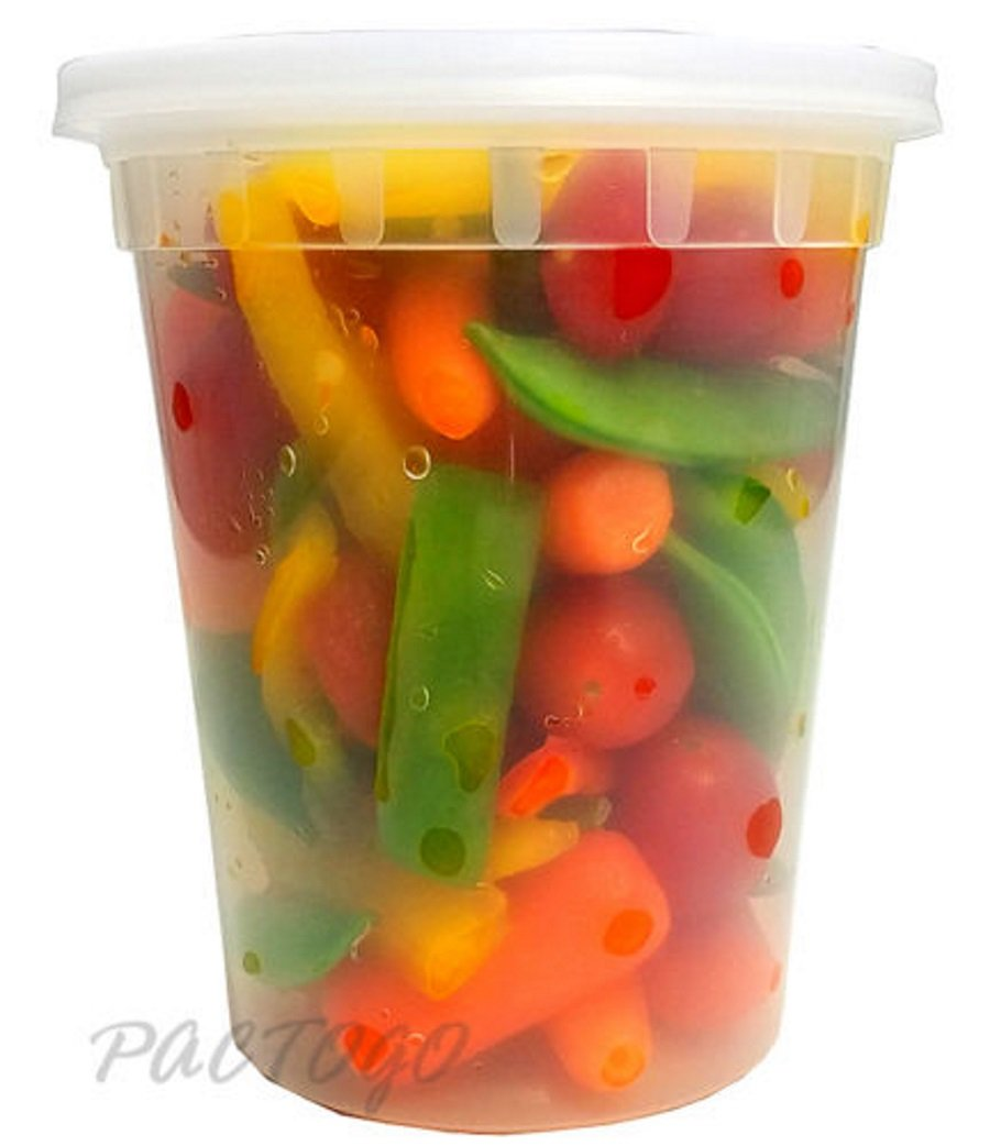PCM 32 oz. Heavy Duty Round Deli Food Soup Plastic Container w/Lid 100% BPA Free (Pack of 240 Sets)