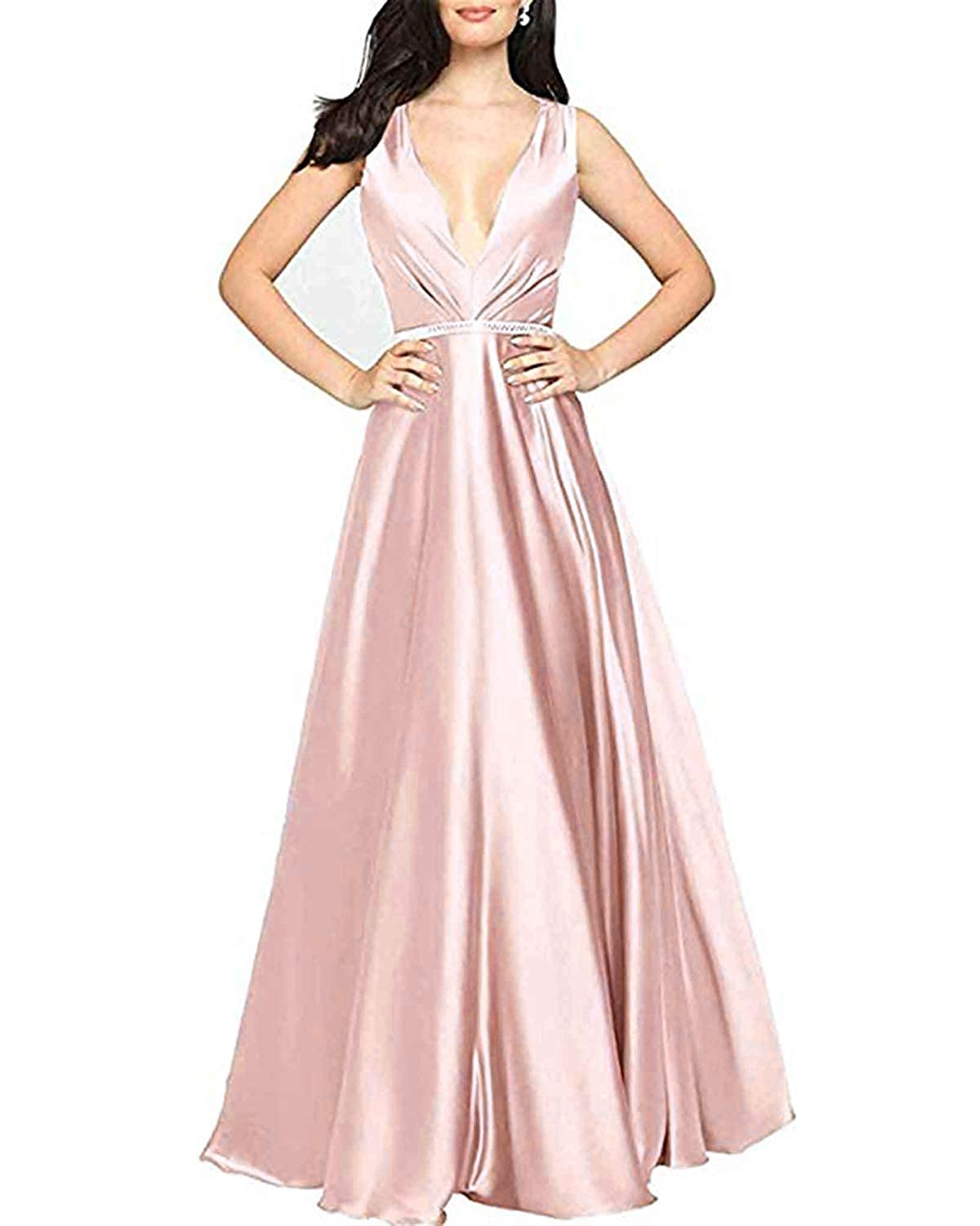 Pastel Pink WHLWHL ALine VNeck Long Party Prom Gown for Women Formal Evening Dress with Pockets