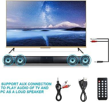 Docooler Barra de Sonido para televisores,Luxus inalámbrico BT 4.0 Altavoz SoundBar TV de Cine en casa 3D de Bass televisor de subwoofer con RCA Line con Mando a Distancia: Amazon.es: Electrónica