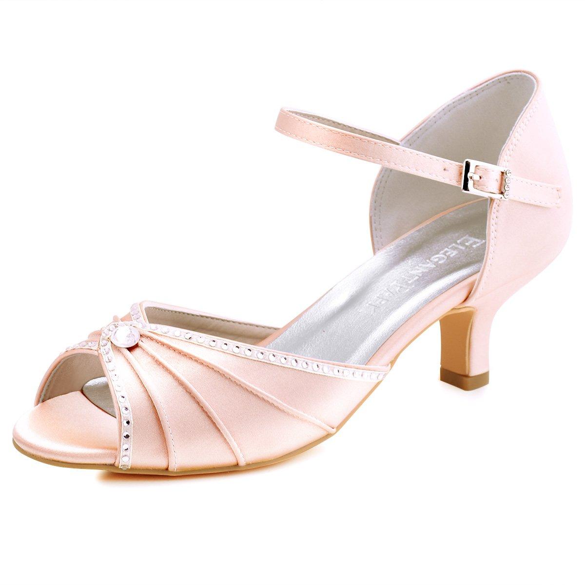 ElegantPark 19992 de HP1623 Escarpins Satin ouvert Bout ouvert Diamant Talon Bas Sandales chaussures de mariee bal Blush 467d0f8 - piero.space