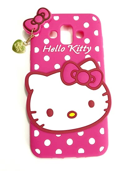 online store 962aa 348cf Trifty Samsung Galaxy J7 Duo (Lounch in 2018 Model) Girl's Back Cover Hello  Kitty Silicon with Pendant - Pink