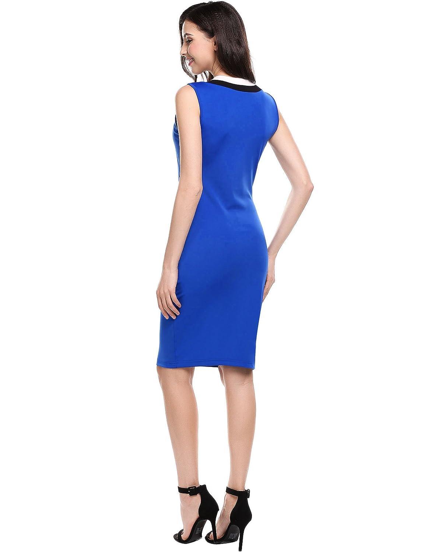 Meaneor Women s Bodycon Classic Slim Fit Stripe Crew Neck Sleeveless Pencil  Midi Dress at Amazon Women s Clothing store  8e616806bea4