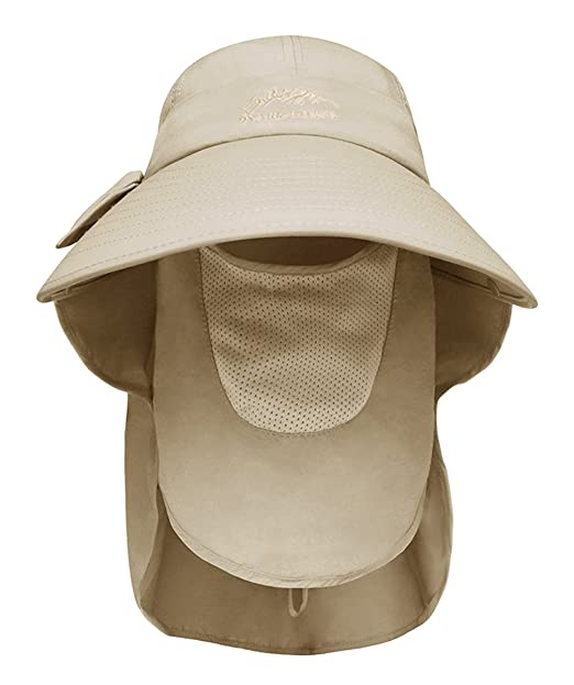 3a2b9390 Amazon.com: Womens Summer Flap Cover Cap Cotton Anti-UV UPF 50+ Sun ...