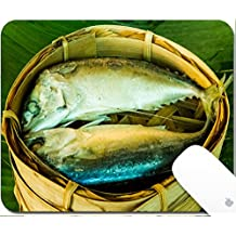 Luxlady Gaming Mousepad 9.25in X 7.25in IMAGE: 24728368 Mackerel fish steamed in bamboo basket