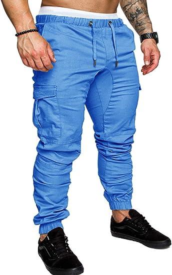 SOMTHRON Hombre Cinturón de cintura elástico Pantalones de ...