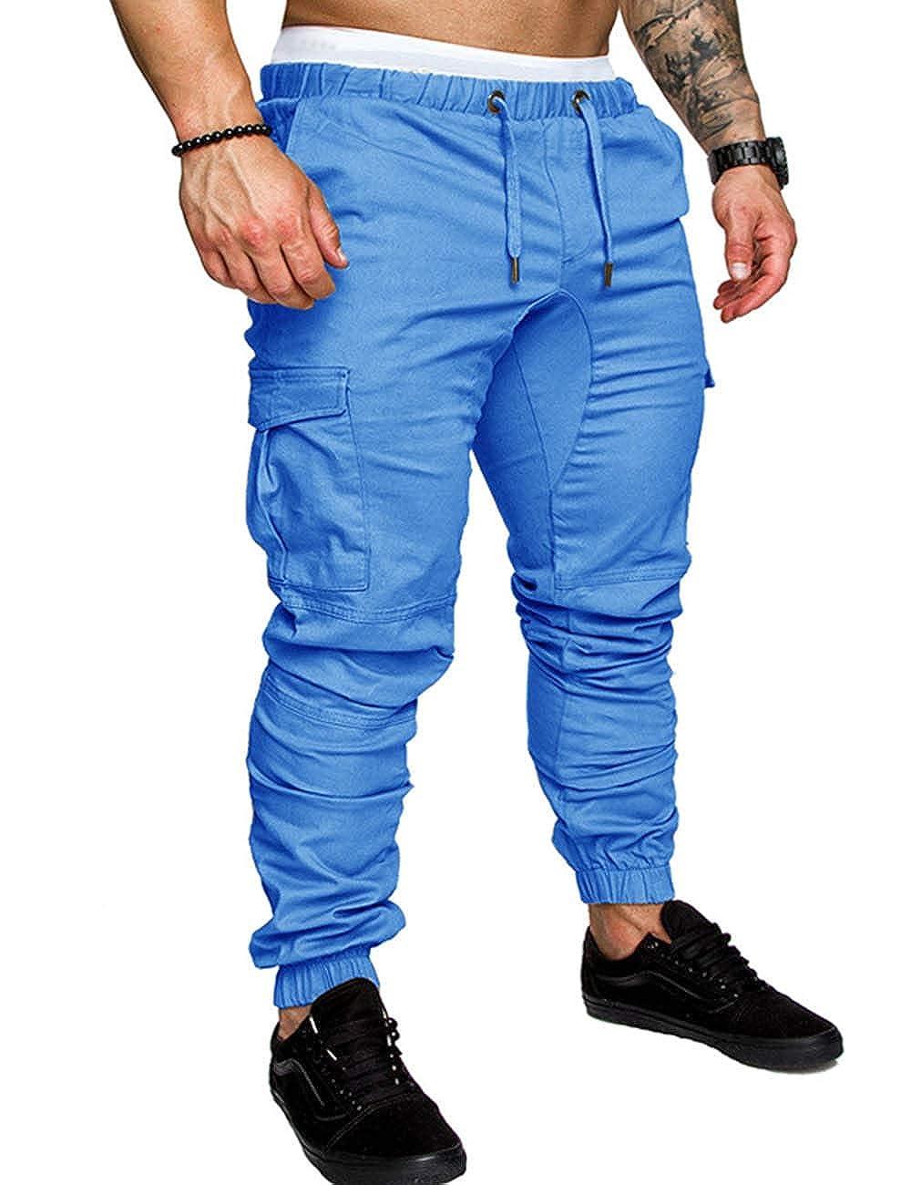 147303a4cc SOMTHRON Hombre Cinturón de cintura elástico Pantalones de chándal de  algodón largo Jogging Pantalones de carga deportiva de talla grande  Pantalones cortos ...