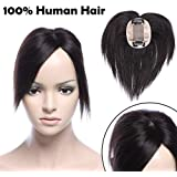 """6"""" Straight Remy Human Hair Topper Clip in Hairpiece with Fringe Ideal for Concealing Thinning Hair Mono Top Piece for Women (2.3""""*3.5"""",15cm)"""