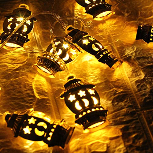 (CCatyam Ramadan Lanterns Globe String Lights LED DIY Plug-in Indoor Battery Warm White Home Decor Curtain Party Garden Wall (Yellow))