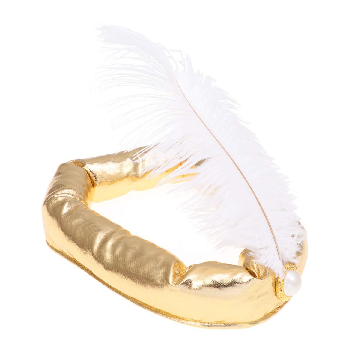 Amosfun Arabian Hat Halloween Feather Sultan Prince Hat Sultan Costume Cosplay Headband Golden