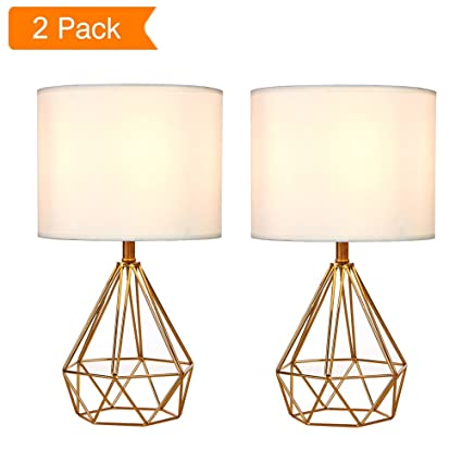 SOTTAE Golden Hollowed Out Base Modern Lamp Bedroom Livingroom Beside Table  Lamp, 16u0026quot; Desk