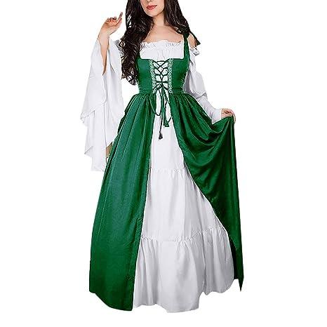 accb0ca562bd Amazon.com: Birdfly Vintage Renaissance Petal Medieval Retro Princess Dress  50s Nobility Cosplay Dress Plus Size 3L 4L 5L (S, Deep Green): Computers &  ...