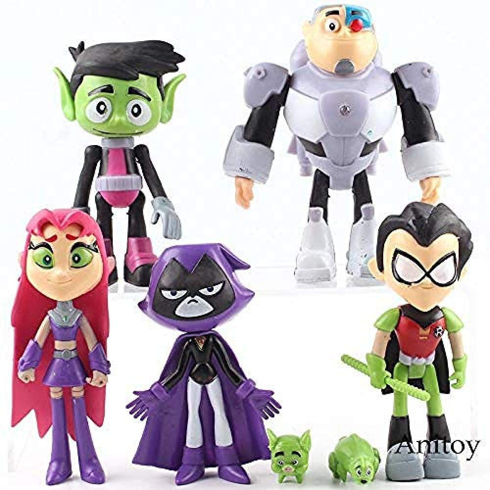 7pcs Teen Titans Go To the Movies Robin Cyborg Beast Boy Raven Figure Toy Gifts