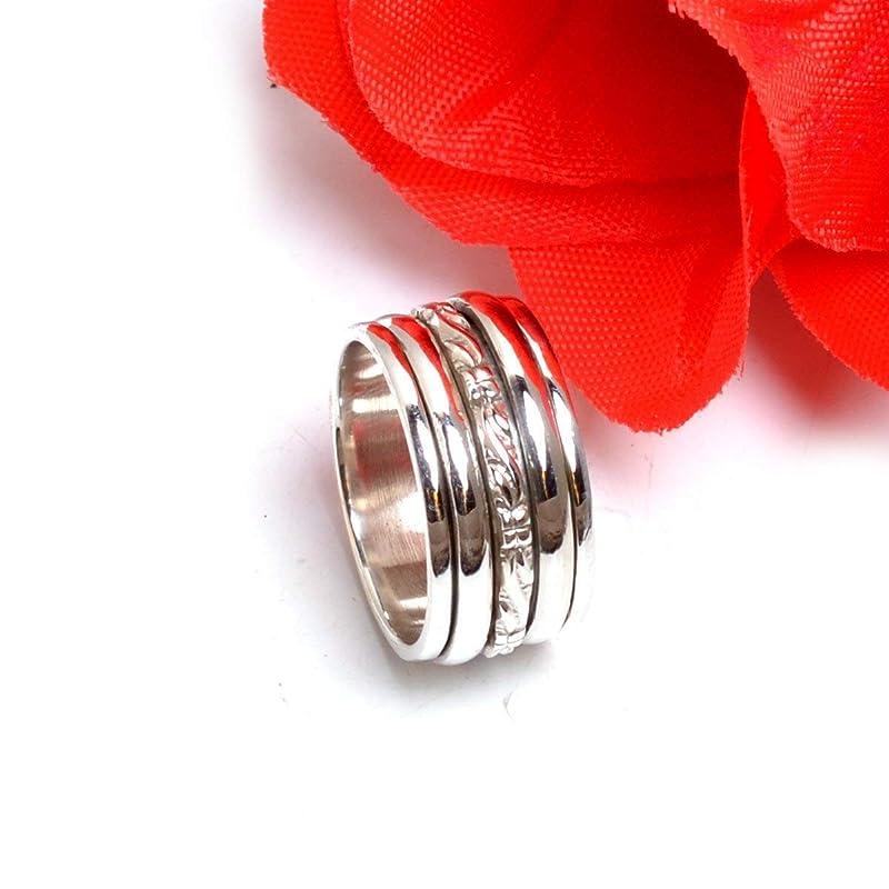 Plain Silver Ring Mothers Gift Ring Womens Ring Thumb Ring Spinning Ring Meditation Ring Three Band Ring Anxiety Ring 925 Silver Ring