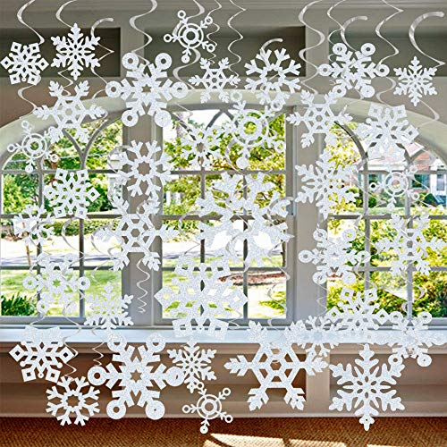 GOER 36 Pcs Snowflake Hanging Swirls for New Year Christmas Winter Party Decorations ()