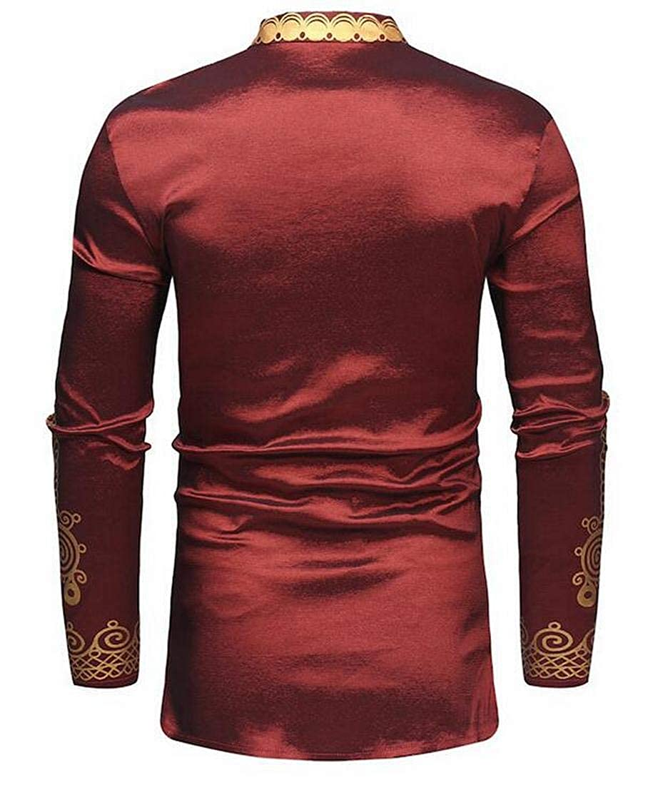 UUYUK Men African Fribal Print Long Sleeve Stand Collar Slim Longline Shirts