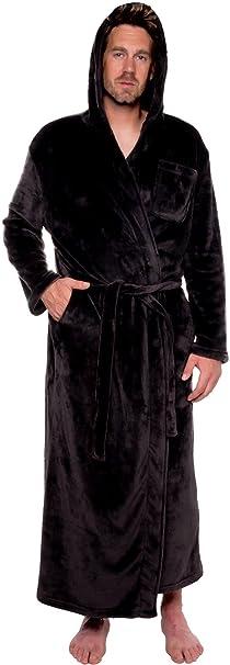 cac657f18d Mens Hooded Long Robe - Full Length Big   Tall Bathrobe by Ross Michaels  (Black