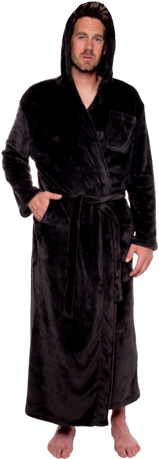 Ross Michaels Mens Hooded Long Robe - Full Length Big & Tall Bathrobe by (Black, L/XL)