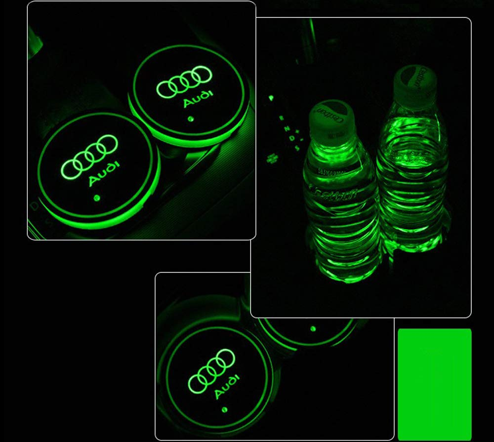 Audi 2PCS LED Cup Holder Mat Pad Coaster with USB Rechargeable Interior Decoration Light Interesting car 4350405969