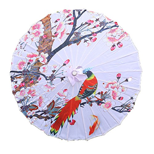 Lanburch Handmade Chinese/Japanese Style Vintage Silk Fabric Umbrella Parasol 33-Inch Birds Flowers