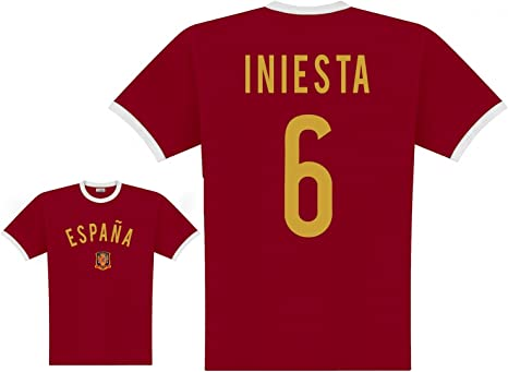 World of Football Camiseta Jugador España Iniesta - S: Amazon.es ...