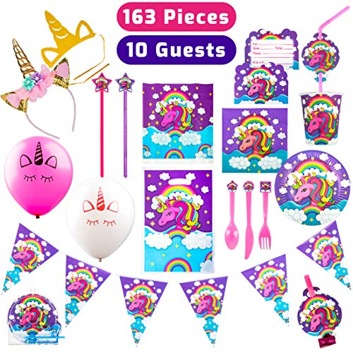 USA Toyz Rainbow Unicorn Party Supplies - 163 Unicorn Party Decorations and Party Favours for Girls and Boys
