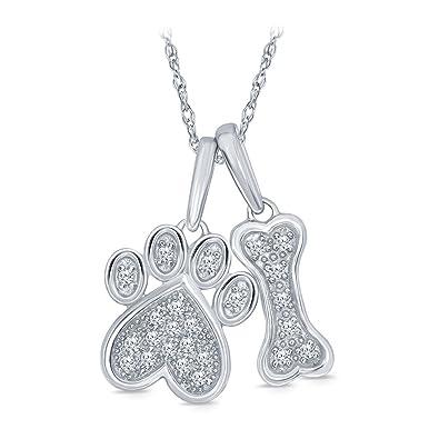 69cc7676d Amazon.com: La Joya 1/10 ct Round White Diamond Dog Bone Paw Pendant in 925  Sterling Silver for Teens Women's Girls: Jewelry
