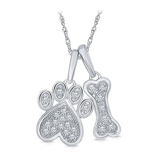 Amazon 110 cttw round white diamond dog bone and paw pendant 110 cttw round white diamond dog bone and paw pendant in sterling silver aloadofball Gallery