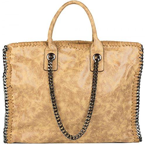 Kaki Antique Or femmes shopper besace chaîne Jaune bag vintage avec antique tote sac 02012057 rock styleBREAKER sac style couleur sac HwSZnF