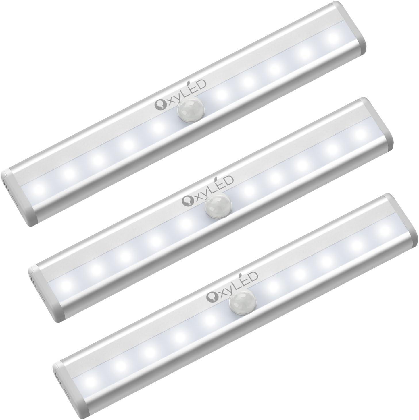 OxyLED Sensor luz del armario,LED luz del armario,bajo el armario,funciona con batería de iluminación con tira magnética pegada, auto encendido/apagado pegado en cualquier lugar,10 LED,3 unidades