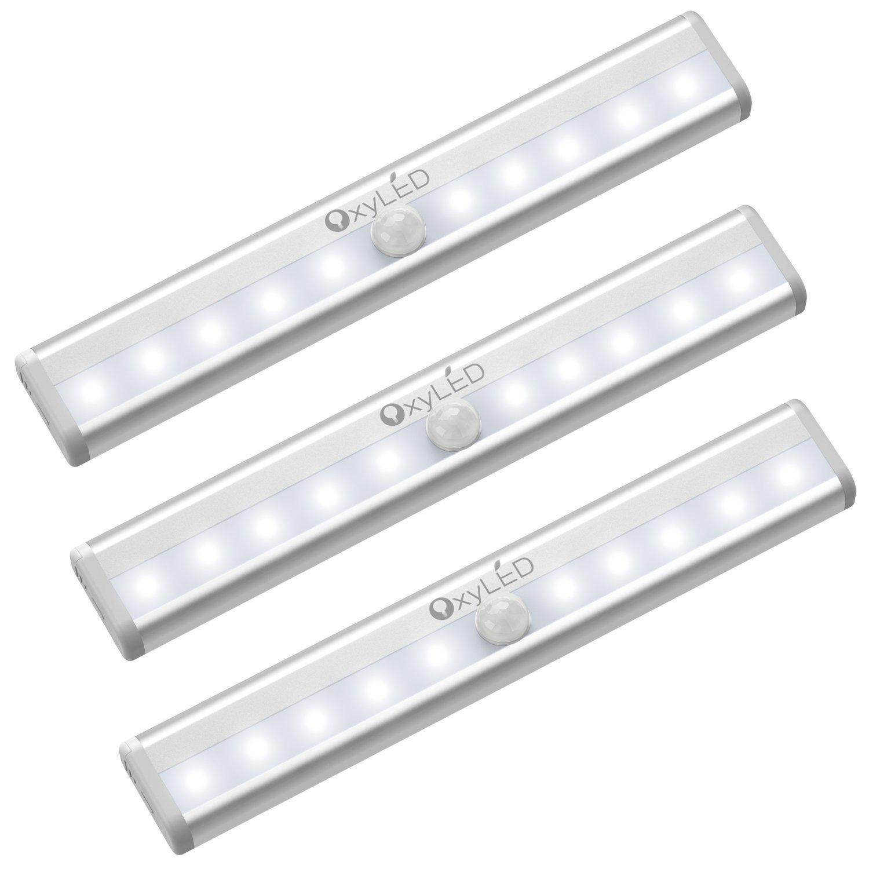 OxyLED Bewegungssensor Schrank Lichter, Kabinett Licht, DIY Stick auf überall Wireless 10 LED-Lichtstrahl, sichere Lichter mit Magnetstreifen für Garderoben-Treppe (3 Satz, weißes Licht, Batterie betrieben) weißes Licht D03-1022N-16