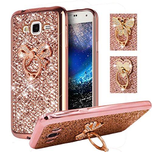 (Galaxy J2 Prime, Grand Prime+, Grand Prime Plus Case, Best Share Soft Bumper Glitter Slim Fit Bling TPU Back Cover For Samsung Galaxy J2 Prime, Grand Prime+, Rose Gold-Bowknot Metal Ring Kickstand)