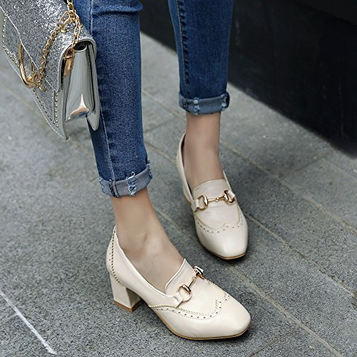 Charm Foot Womens Vintage Style Chunky Mid Heel Loafers Shoes Beige uwgH5tSX
