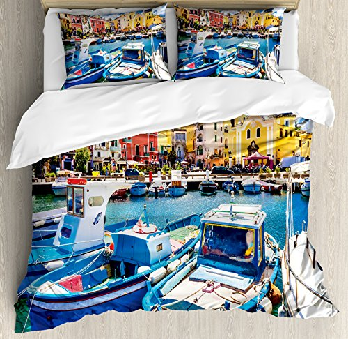 Ambesonne Italy Duvet Cover Set Queen Size, Colorful Procida Island with Fishing Boats Summertime Tourism Vacation Travel Theme, Decorative 3 Piece Bedding Set with 2 Pillow Shams, Multicolor (Italy Boats Fishing)