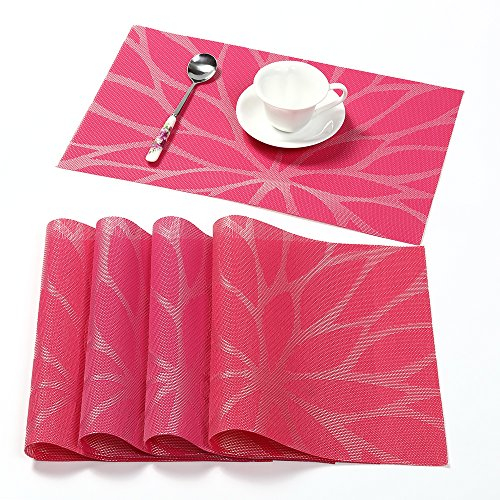 HEBE Placemats, Washable Placemats for Dining Table Heat Insulation Stain Resistant Placemat Set of 4 Woven Vinyl Kitchen Table Mats(4, Rosy)