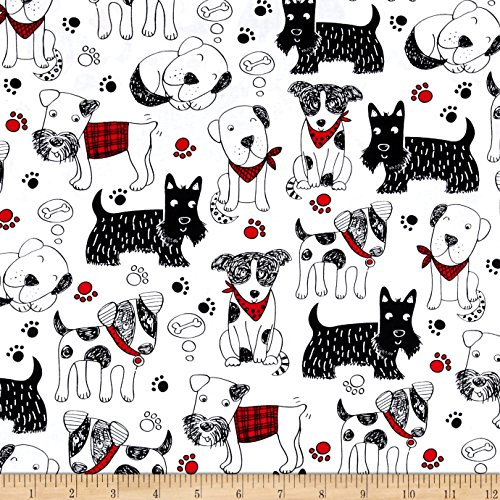 Timeless Treasures 0444111 Scribble Dogs White Fabric by the Yard