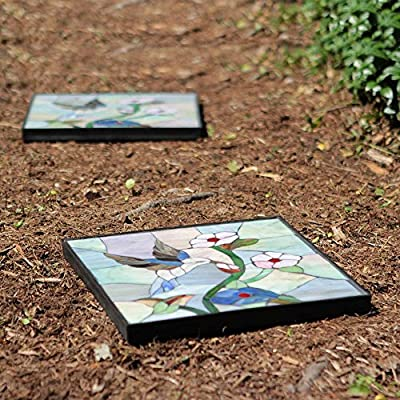 12 in. x 12 in. Outdoor Essentials Hummingbird Stepping Stone, Weather Resistant, Easy Installation, Garden Path