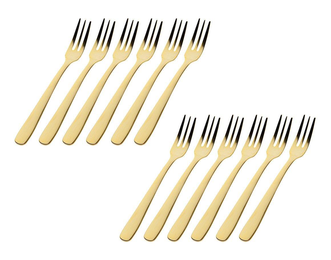 Godinger Dora Vita Set of 12 Light Gold-Plated High Luster 18/0 Stainless Steel Appetizer Forks