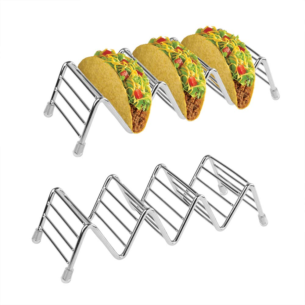 Poualss Stainless Steel Taco Holders Stand (4Pack) Rustproof Taco Rack for Hard or Soft Shell Tacos
