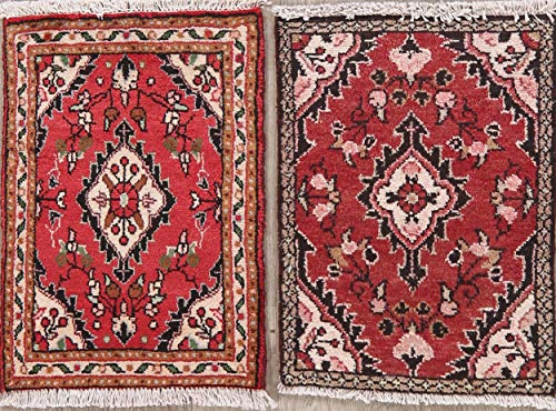 (Package of 2 Hand-Knotted Hamedan Persian Oriental Red Wool Rug 2' 0