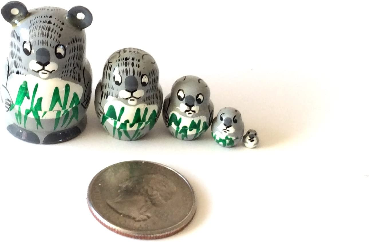 7 tall Polar Bear Russian Hand Carved Hand Painted Nesting 5 piece DOLL Set