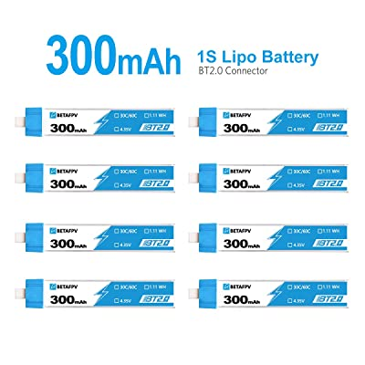 BETAFPV 8pcs BT2.0 300mAh 1S Battery 4.35V 30C/60C FPV Lipo with 1.0mm Banana Connector for FPV Tiny Whoop 1S Brushless Whoop Drone Like Meteor65 Micro Whoop Drone: Toys & Games